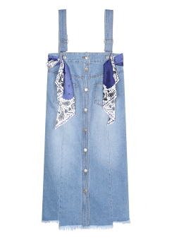 Scarf strap denim dress