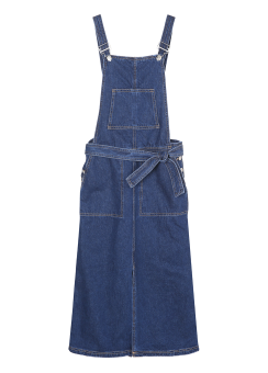 Overall wrap denim long dress