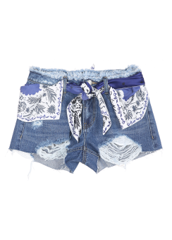 Scarf belted shorts