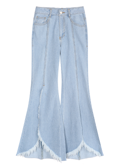 Front cut off wide jeans