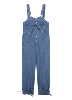 Button strap overall jeans