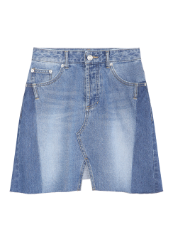 Cut off denim mini skirt