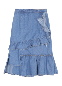 Ruffle midi denim skirt