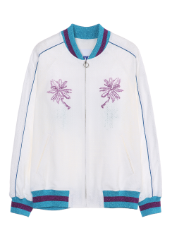 eyelet embroidery bomber jacket