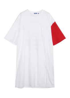 Color sleeve tee dress