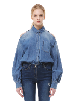 Shoulder cut denim shirt