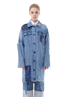 Spangle detail denim long jacket