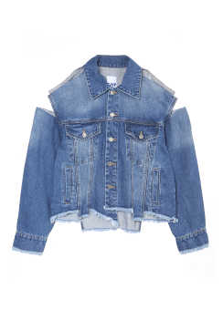 Unbalance destroyed denim jacket