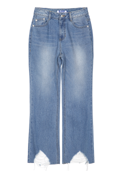 Hem destroyed wide jeans