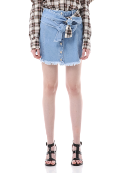 Shirt tied detail denim skirt