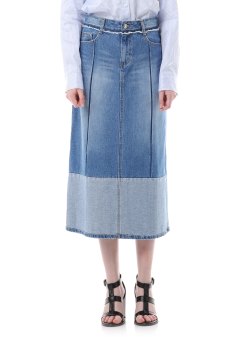 Ton on ton denim long skirt