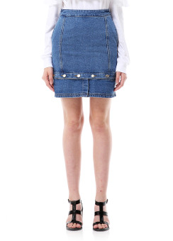 Bottom button denim skirt