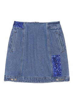 Spangle denim skirt