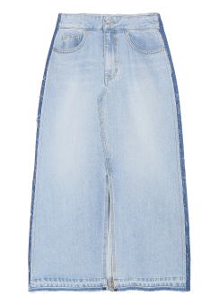 Side two tone denim long skirt