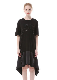 SJYP logo ruffle dress