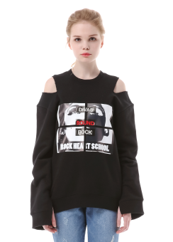 Graphic shoulder cut sweatshirt