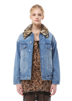 Leopard fur denim jacket