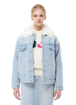 Hairy fur denim sherpa jacket