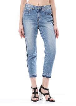 Side two tone straight jeans