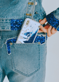 [공용] SJYP Blue Glitter Case - iPhone X