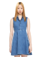 Denim side cut dress