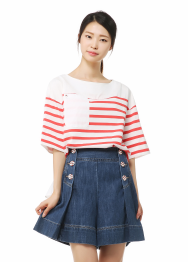 Ruche stripe t-shirts