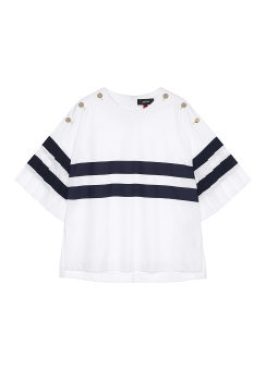 Stripe button t-shirts