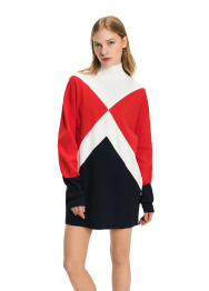 Gigi hadid graphic mock-neck dress