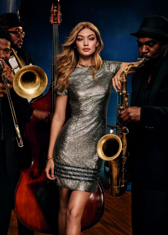 GIGI Hadid Sequin SS Dress