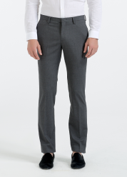[Men] Solid wool stretch pants