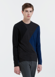 [Men] Extrafine wool ls color block top