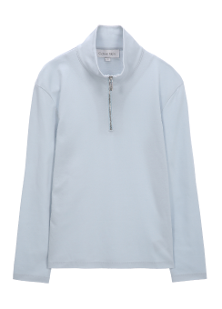 [Men] LIGHTWEIGHT CLEAN INTERLOCK L/S ZIP UP POLO