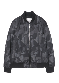 [Men] SHADED PRINT NYLON DOWN OUTERWEAR WITH SWEATER TRIM