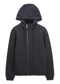 [Men] EXTRAFINE MERINO BOILED WOOL ZIP UP HOODED CARDIGAN