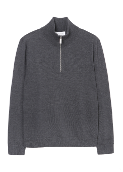 [Men] EXTRAFINE WOOL LONG SLEEVES ZIP UP TOP