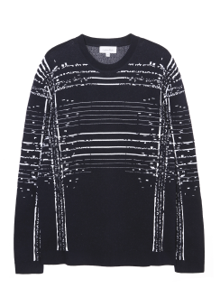 [Men] Extrafine Wool (P/W Spandex) Jacquard Long Sleeves Crew Neck Top