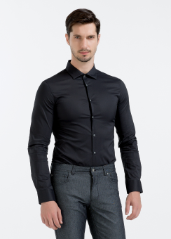 [Men] New fine stretch poplin l/s shirt