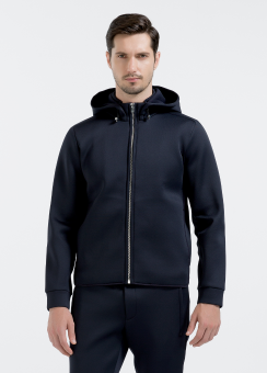 [Men] Nylon pique spacer l/s zip up hoodie