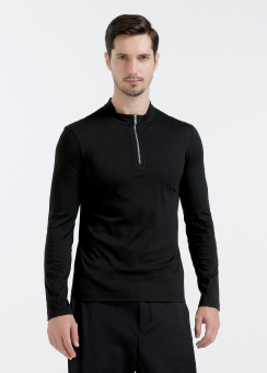 [Men] Compact interlock l/s zip up top