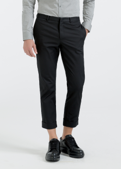 [Men] Refined cotton twill cropped pants with cuff