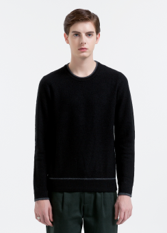 [Men] Felted merino ls top with contrast tipping