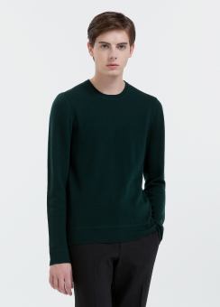 [Men] Structure wool ls top with contrast neck