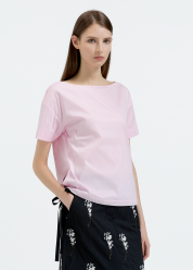 [Women] Short sleeves top with skinny twill tape