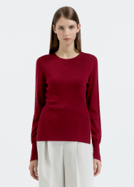 [Women] Slit detail Ribbed Pullover Top