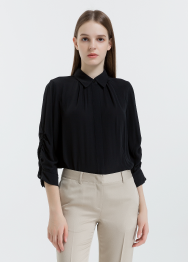 [Women] Heavy silk long sleeves top