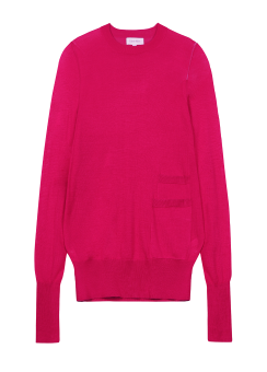 [Women] REFINED SILK WOOL L/S TOP WITH POCKET