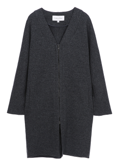[Women] V-neck loose fit zip-up jersey wool coatigan