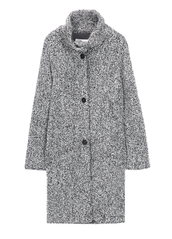 [Women] BK/WT contrast texture mock neck coat