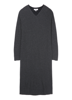 [Women] H-line v-neck L/S sweater maxi dress