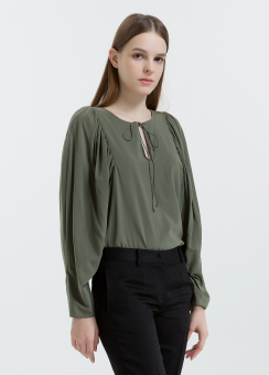 [Women] Stretch silk easy top